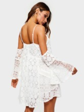 Long Sleeve Patchwork Hollow Women's Lace Dress