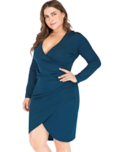 Plus Size V-Neck Asymmetric Plain Women's Long Sleeve Dress