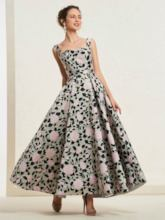 Straps Floral Print Ankle-Length Prom Dress 2019