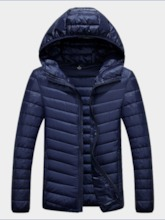 Standard Plain Zipper Men's Down Jacket