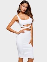 Sexy Plain Hollow Pullover Women's Two Piece Sets