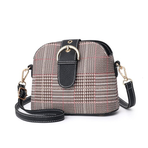 Thread Houndstooth PU Shell Crossbody Bags