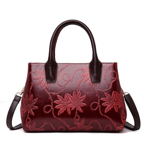 PU Floral Thread Square Tote Bags