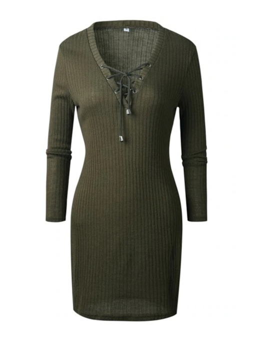 V-Neck Lace-Up Long Sleeve Casual Women's Sheath Dress