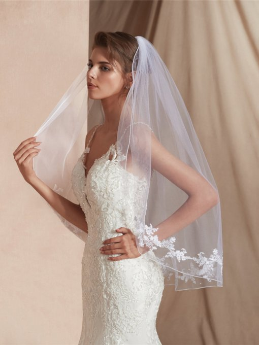 Elbow Beading Applique Edge One-Layer Wedding Veil