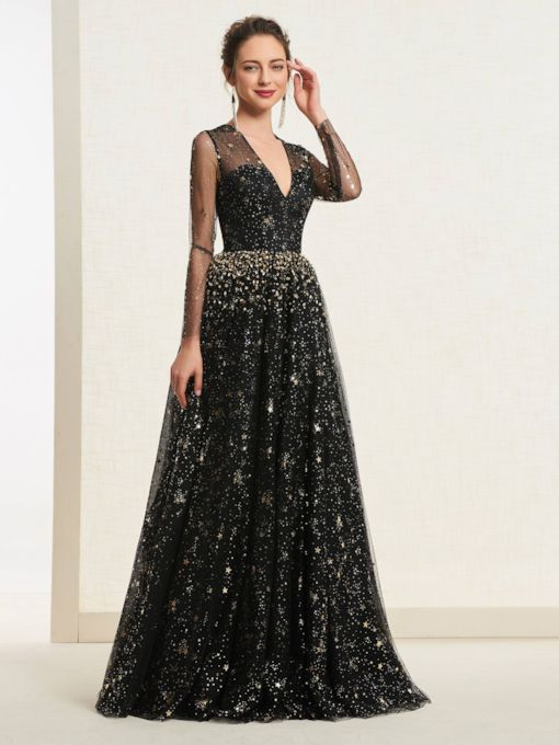 Beading Star Sequins Long Sleeves Prom Dress