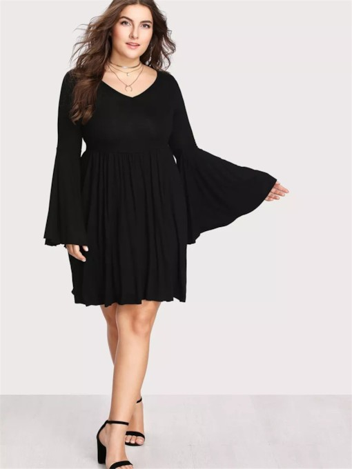 Plus Size Plain V-Neck A-Line Women's Long Sleeve Dress