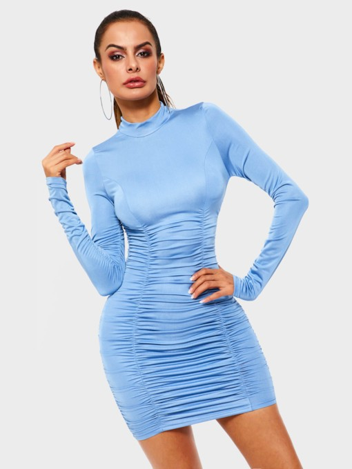 Pleated Long Sleeve Casual Women's Bodycon Dress