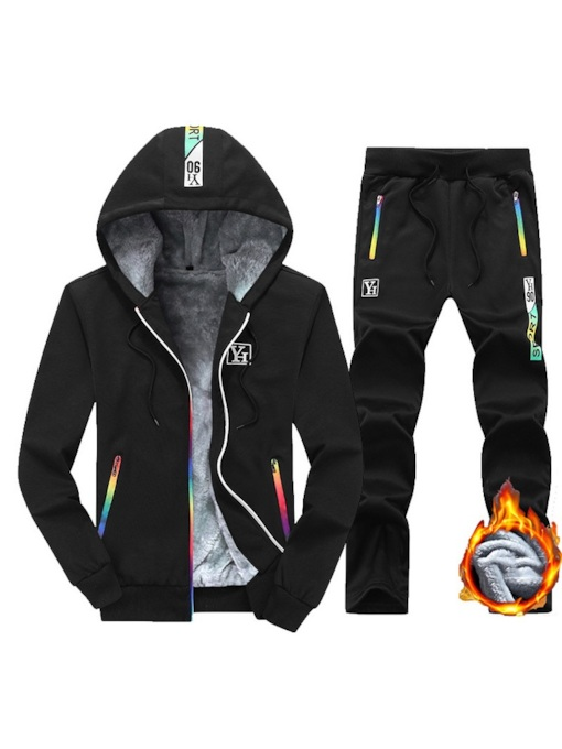 Jacket & Pants Fleece Lining Men's Sports Suit