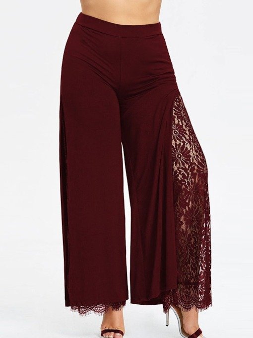 Lace Patchwork Loose Full Length Women's Casual Pants