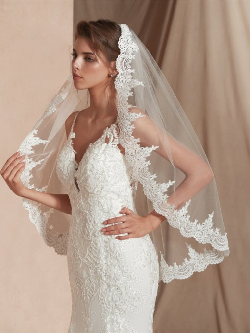 Beading One-Layer Applique Edge Elbow Wedding Veil