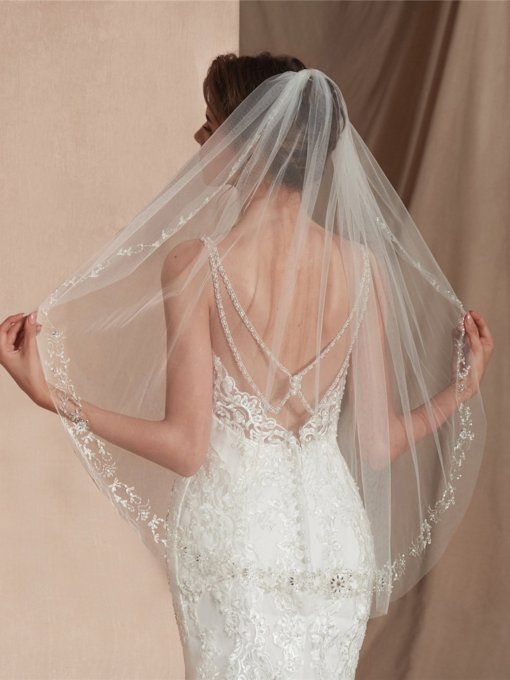 Elbow Beading One-Layer Wedding Veil