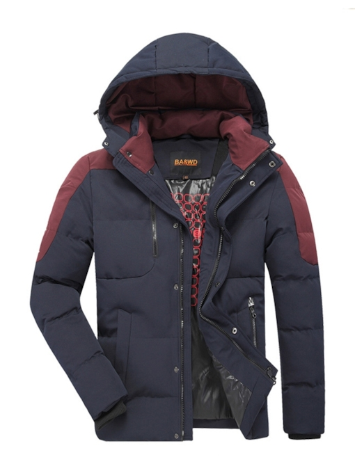 Stand Collar Color Block Patchwork Zipper Men's Down Jacket