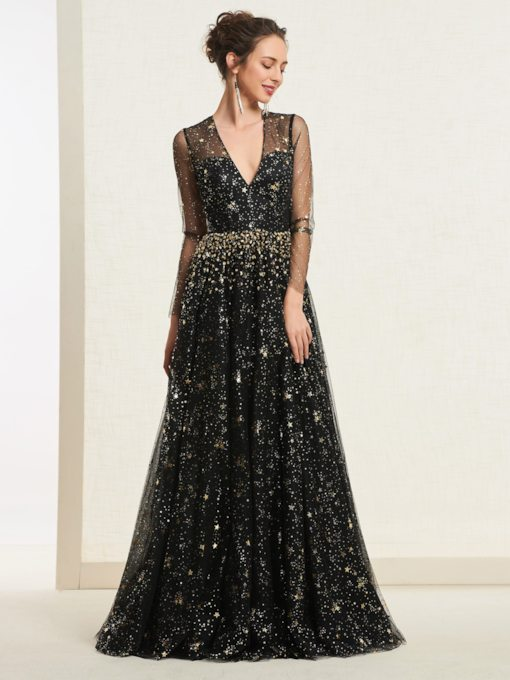 Beading Star Tulle Sequins Long Sleeves Prom Dress 2019