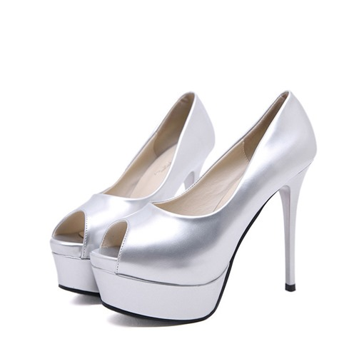 Peep Toe Slip-On Stiletto Heel Platform Low-Cut Upper Pumps