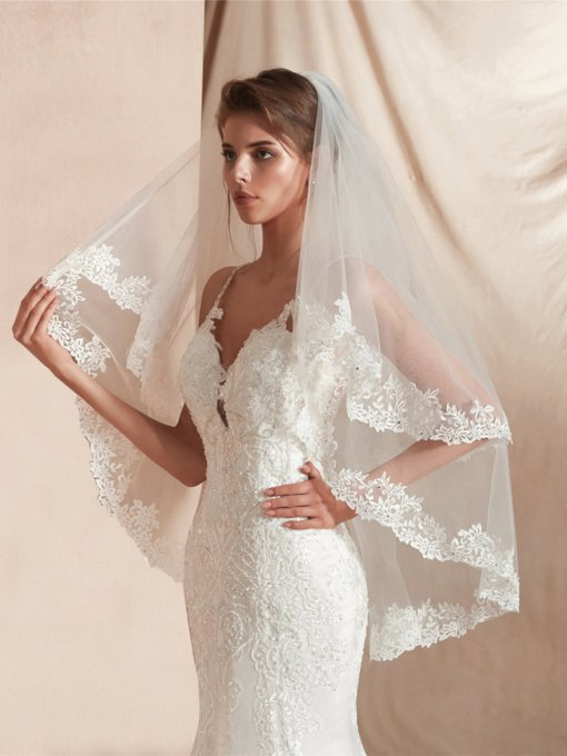 One-Layer Beading Elbow Bridal Veil