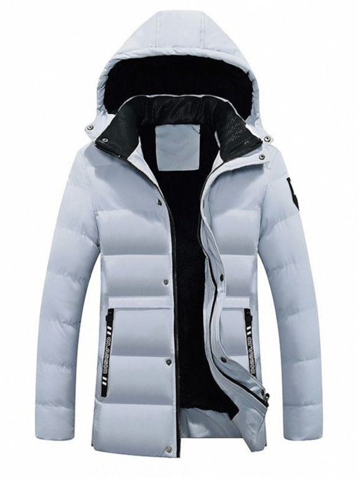 Slim Letter Print Hooded Men's Down Jacket