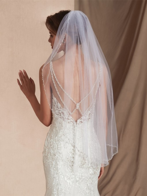Elbow One-Layer Bead Edge Wedding Veil