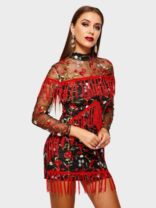 Tassel Embroidery See-through Women's Bodycon Dress