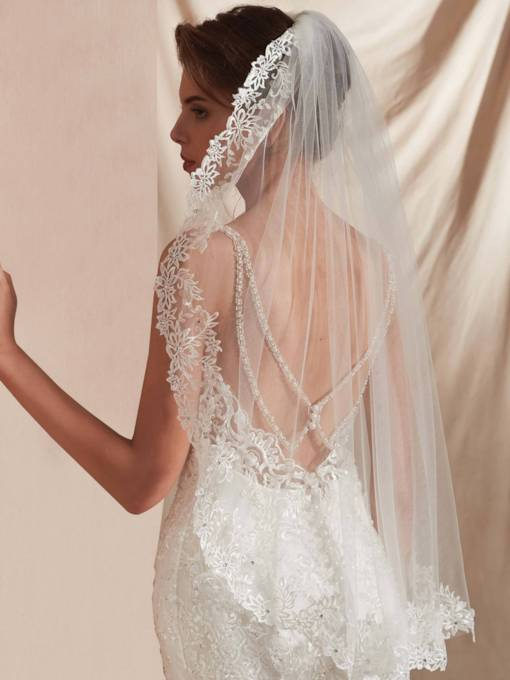 Elbow One-Layer Appliques Beading Wedding Veil