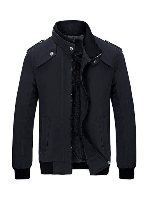 Stand Collar Thick Fleece Lining Straight Men's Jacket