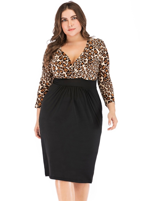 Plus Size V-Neck Patchwork Leopard Women's Long Sleeve Dress