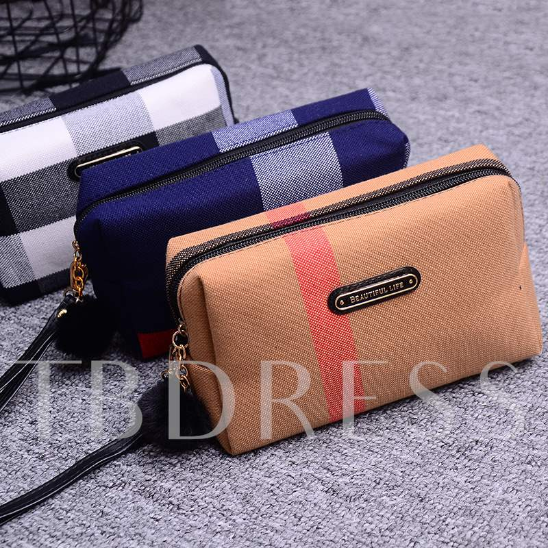 Easy Carry Plaid Canvas Cosmetic Bags/Cases
