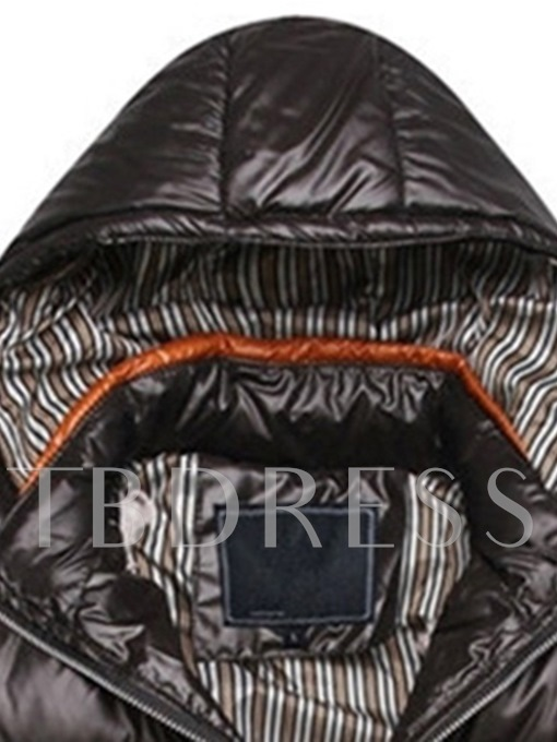 Plain Slim Thick Hooded Men's Down Jacket