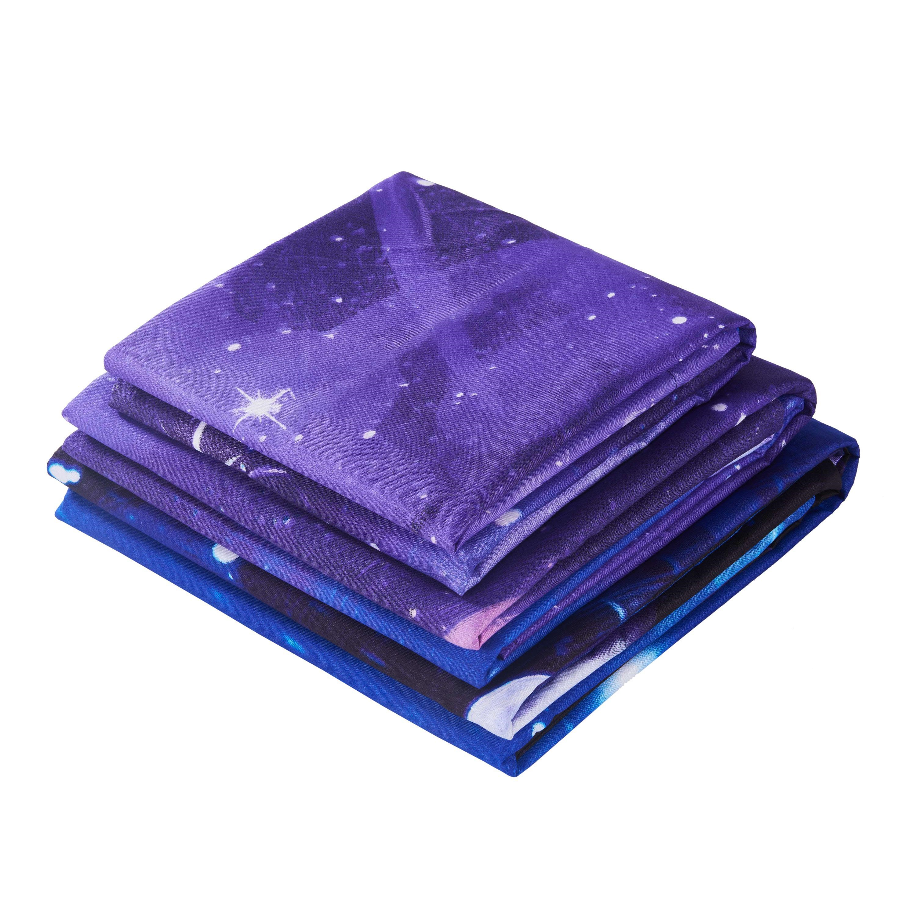 Galaxy and Stars Printed 3D 4-Piece Blue Bedding Sets/Duvet Covers
