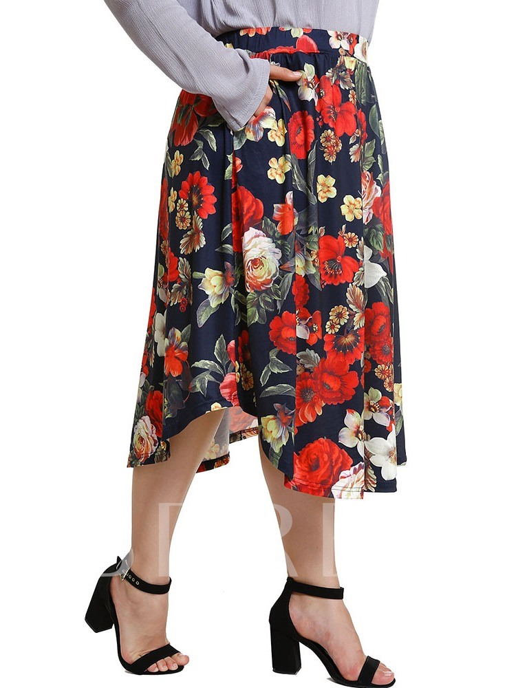 Plus Size Floral Mid-Calf A-Line Date Night Women's Skirt