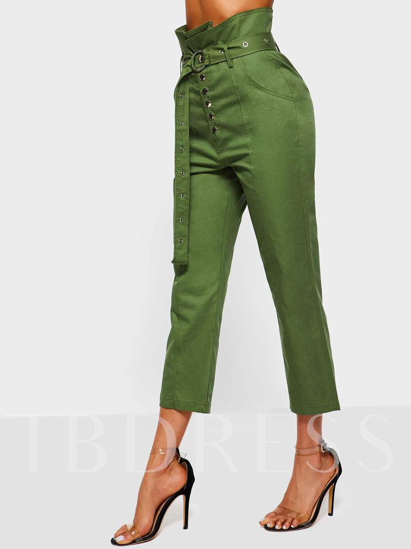 Slim Lace-Up Plain Straight Women's Casual Pants