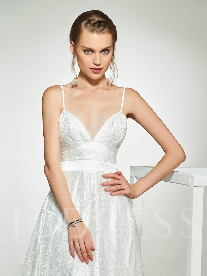 Spaghetti Straps Lace Wedding Dress 2019