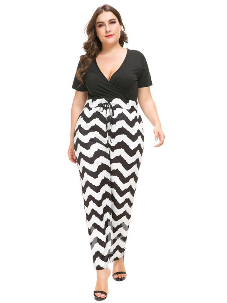 Plus Size Color Block Lace-Up Full Length Straight Women's Jumpsuits
