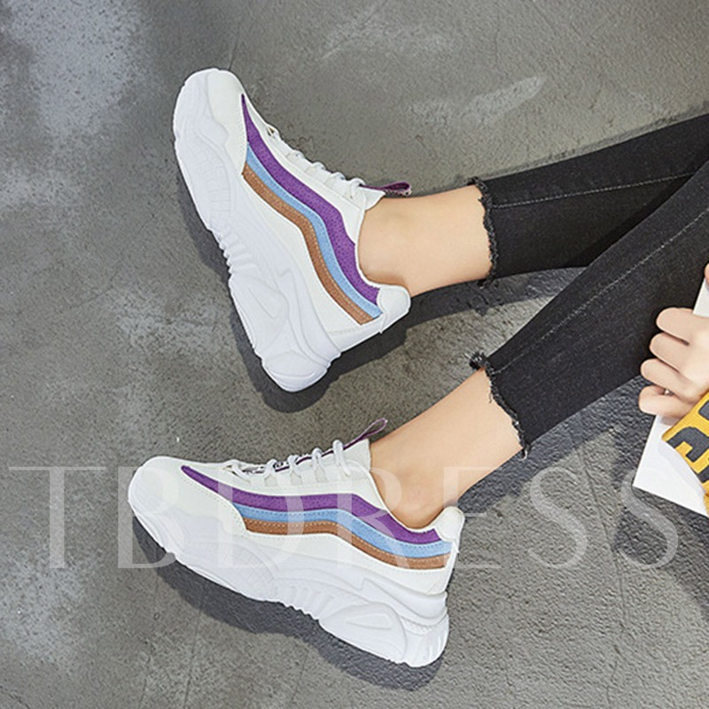 Color Block Platform Round Toe Lace-Up Patchwork Women's Sneakers