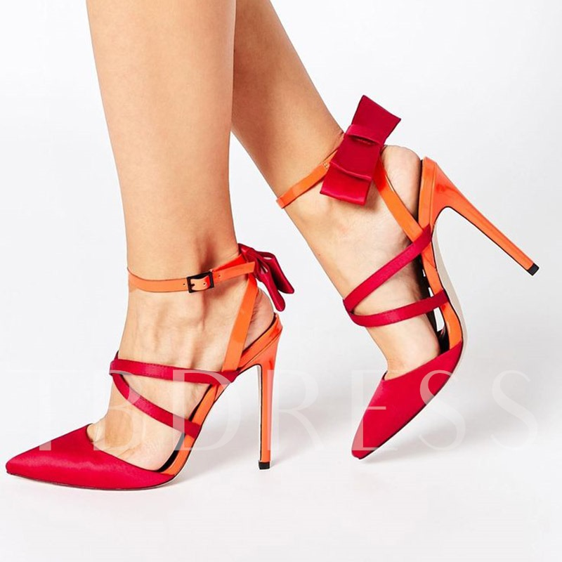 Strappy Pointed Toe Stiletto Heel Color Block Bow Women's Sandals