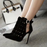 Stiletto Heel Pointed Toe Plain Hasp Hollow Ankle Boots