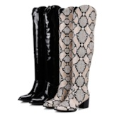 Pointed Toe Chunky Heel Leopard Side Zipper Thigh High Boots
