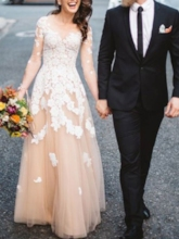 Illusion Neck Long Sleeves Appliques Wedding Dress