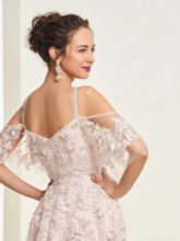A-Line Appliques Straps Short Sleeves Beaded Evening Dress