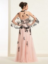 A-Line Appliques Spaghetti Straps Floor-Length Prom Dress