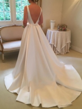 Bateau Neck A-Line Bowknot Wedding Dress
