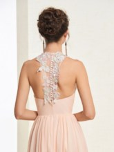 Scoop Floor-Length A-Line Appliques Prom Dress