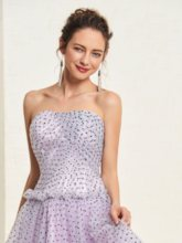Strapless A-Line Dots Tulle Prom Dress 2019