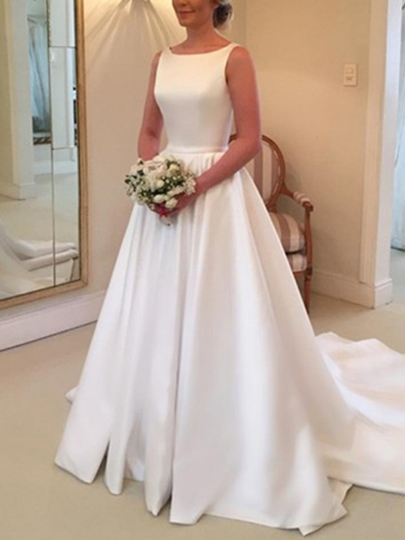 Bateau Neck A-Line Bowknot Wedding Dress 2019 Bateau Neck A-Line Bowknot Wedding Dress 2019