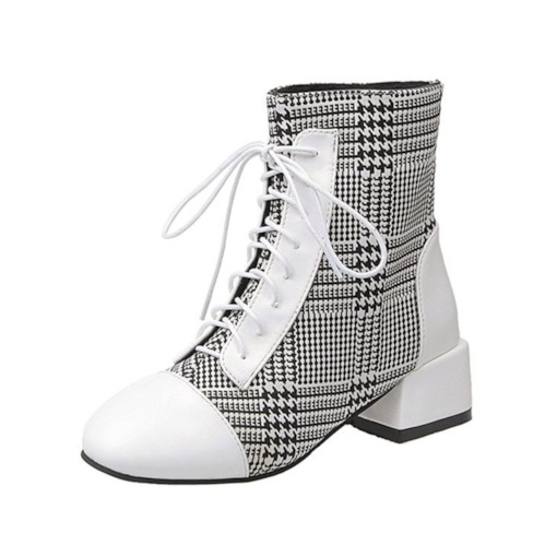 Plaid Patchwork Lace-Up Front Chunky Heel Square Toe Ankle Boots