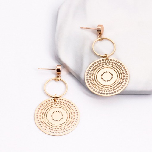 Hollow Out Alloy Round Golden Drop Earrings