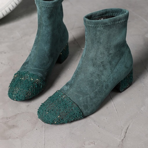 Patchwork Round Toe Chunky Heel Slip-On Suede Exquisite Ankle Boots