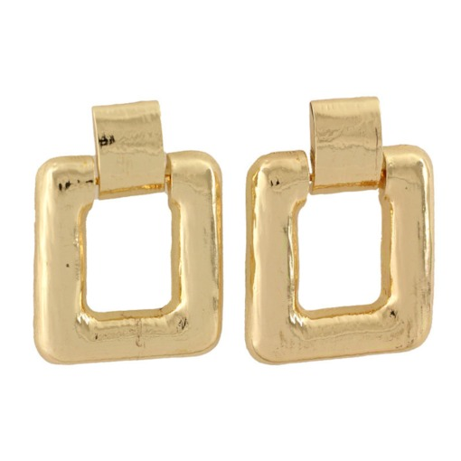 Square Shape Alloy Gold Plated Stud Earrings