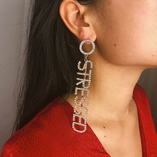 Concise Letter Decorated Personalized Diamante Drop Earrings