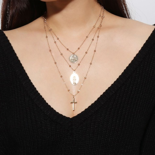 Cross Shape Layered E-Plating Alloy Necklace